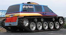 M48 personnel carrier chassis with two Ford 460ci engines and C6 automatic transmissions. The body is the upper half of a fiberglass replica of a 1990 Aerostar. Mostly used as a display vehicle at Bigfoot's headquarters in Hazelwood.