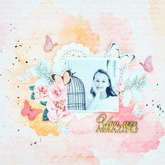 You Are Amazing layout by Amanda Baldwin featuring Pink Paislee Moonstruck collection and Imaginarium Designs chipboard
