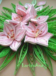 Волшебная сказка про квиллинг: Розовые лилии для MaryBond!!!