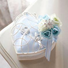カラーハートリングピロー ブルー(キット) <シェリーマリエ・リングピローコーナー> Engagement Ring Holders, Engagement Rings, Ring Pillow, Summer Wedding, Passion, Hands, Pillows, Deco, Handmade