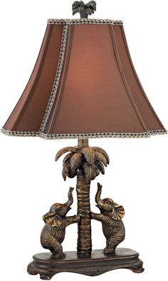 Traditional Accent Lamp Elephants Palm Tree 1 Light Bronze Finish Resin Fabric Dimondlighting Traditiona Elephant Table Lamp Bronze Table Lamp Elephant Table