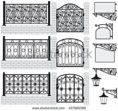 Set of iron wrought fences, gates, signboards and lanterns with decorative ornaments. Vector illustration - stock vector