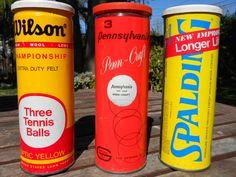 3 vintage cans of tennis balls. $28.00, via Etsy.