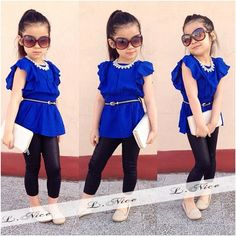 2Pc Toddler Infant Baby Girl Short Sleeve T-Shirt &Pants Clothes Kids Sets 1-8Y