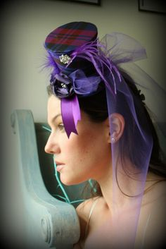 Mini Top Hat in Purple for Birthday's - Wedding - Mad Hatter Party - Steampunk - Fascinator - Tulle Train on Etsy, $26.50