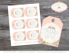 INSTANT DOWNLOAD - Printable Gift Tags: Shabby Chic, Vintage, Label, Birthday, First, Thank You, Polka Dots, Pastel, - PDF File, You Print