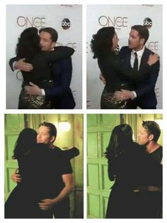 Awesome Lana and Sean (Regina and Robin) hugging #OnceTurns100 party #StevestonVillage #Richmond #Canada Saturday 2-20-16 top left and right  Regina and Robin (Lana and Sean) hugging Once S4 bottom left and right