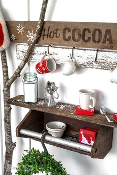 Toolbox shelf for a Christmas hot cocoa bar