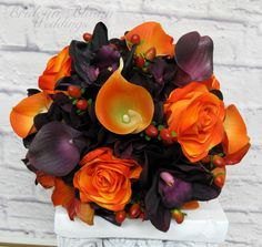 Wedding bouquet purple calla lily orange rose orchid real touch bridal bouquet
