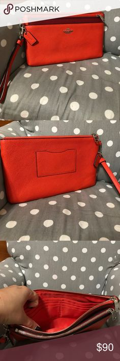 Coach wristlet Orange wristlet style/wallet/clutch with removable red pouch. Purchased at a Coach store in Corpus Christi. I thought it was what I wanted but used only a few times and decided it wasn't for me. It's been hiding in a drawer for sometime now. There are no stains and coins were never carried in it. Coach Bags Wallets