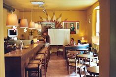 Krakow - Modern Cafe interior in Jewish Quarter