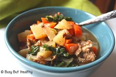 Kale, Turnip and Turkey Sausage Soup is a one-pot meal that's perfect for a winter dinner. Only 7 ingredients, and gluten-free. Great for the whole family.