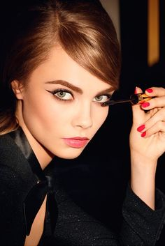 saint laurent / classic red nails + winged eyes are always gorgeous