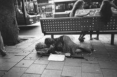 Homeless woman on Allenby St., Tel Aviv.