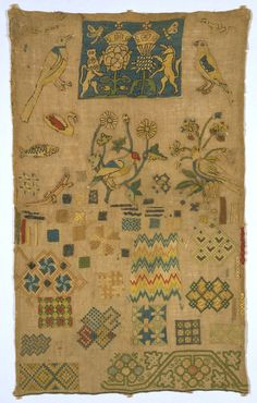 Sampler, Unknown, 1625-1650. Museum no. CIRC.279-1923