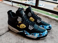 19b6cfc12940 Air Jordan 4 Bape Custom Kids Jordans
