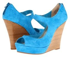 Seychelles Suede Summer Turquoise Wedges $79