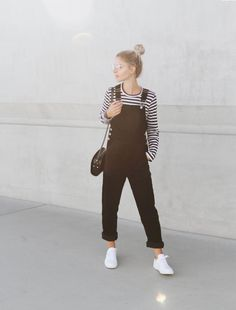 COMME DES GARCONS PLAY  striped top  COMMON PROJECTS  white kicks YMC  black jumpsuit VINTAGE  glasses (similar here) A.P.C.  half-moon bag (or here)  photography by F. Flatau & Mija   _____  _____