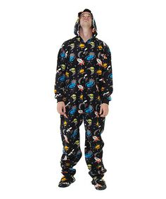 1957d2690 Take a look at this Black Off in Space Hooded Footie Pajamas - Adult by  Footed