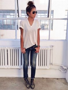 Fave uniform: white tee, jeans and booties