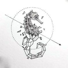 Flawless fine line seahorse. Popular tattoo style.
