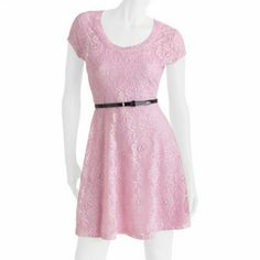 NWOT Large Pink No Boundaries Lace Dress New Without Tags!! Cute medium pink No Boundaries dress. Has two layers, one plain pink soft later underneath with spaghetti straps, and lace pattern top layer. Never worn! *I can not find the black belt* No Boundaries Dresses