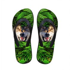 Novelty 3d Wolf Tiger Summer Brand Man Slippers Shoes Fashion Men's Casual Beach Flip Flops Flat Sandals Male Sapato Feminino