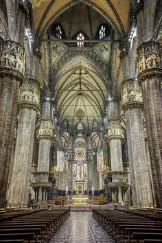 Il Duomo Milan Interior Photograph by Joan Carroll Milan Cathedral, Gothic Cathedral, Cathedral Church, Barcelona Cathedral, Church Architecture, Historical Architecture, Beautiful Architecture, Alberta Travel, Amazing Buildings
