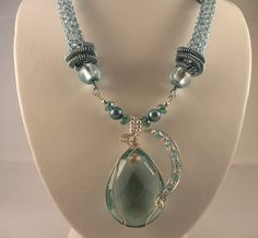 viking knit    Aquamarine Quartz Viking Knit Necklace and Earrings by talpal2