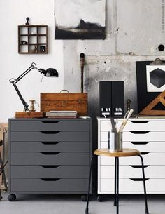 Alex drawers from ikea have so many studio uses