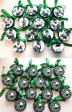 Hockey Team Puck Ornaments