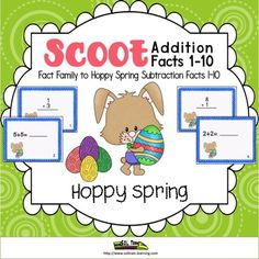 Hoppy Spring Scoot is a fun and exciting Easter math activity that gets all of your students moving. It can be used as a preview to see what your students already know, as a review or as an assessment after teaching addition facts to 10. Your kiddos will also love using the cute cards and manipulatives as an Easter math activity for a math center.