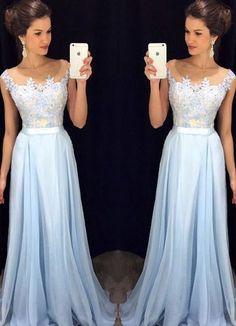 Scoop Sleeveless A-line Chiffon Long Prom Dress,evening dresses