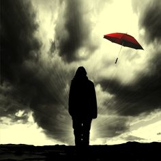 Flying red umbrella by ~Schneeengel