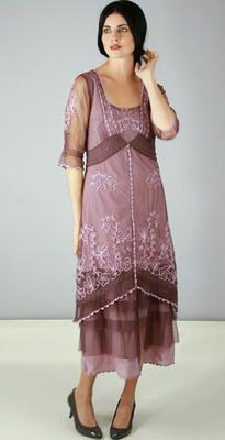 AL-2101 Titanic Tea Length Dress in Mauve