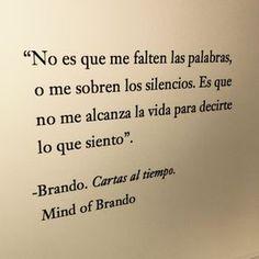 No es que me falten las palabras, o me sobren los silencios. Es que no me alcanza la vida para decirte lo que siento.