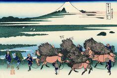 36 Views Or Mount Fuji - Katsushika Hokusai c. 1760 - 1849. This print is Additional #5/10 being an ink print made from woodblock.  Title - Ōno Shinden in the Suruga Province. Sunshū Ōno-shinden. 駿州大野新田.
