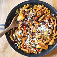 **Skinny Mediterranean Pasta Toss** (made for dinner this evening, tasty, hearty & healthy; however no matter what pasta recipe I try hubby never enjoys as much as my own pasta recipe. Potluck Recipes, Veggie Recipes, Vegetarian Recipes, Cooking Recipes, Veggie Dinners, Potluck Ideas, What's Cooking, Mediterranean Pasta, Mediterranean Recipes