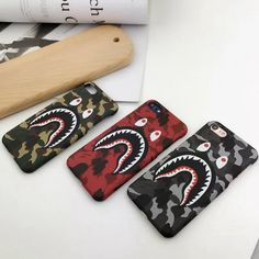 For Iphone 6 7 7 Plus Fashion Army Shark Mouth PC Case Bape Brand Camouflage Hard Case For Iphone 6 6S 6 Plus Phone Cases