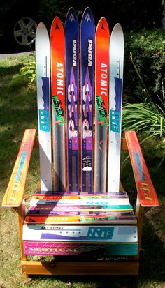 Adirondak Ski Chair... This is mikes dream project..it would be awesome to make use of our old skis!