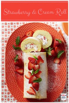 Don't just limit this Strawberry and Cream Roll to special occasions. Light and decadent, it's the perfect summer dessert for any event! Delicious Desserts, Dessert Recipes, Yummy Food, Crepe Recipes, Daisy Sour Cream, Daisy Brand, Kolaci I Torte, Strawberries And Cream, Raspberries