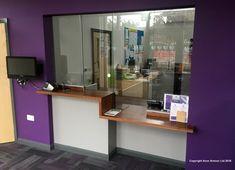 2016 Avon Armour - Sliding Screen and Counter Clinic Design, Healthcare Design, Office Reception Design, School Reception, Reception Counter, Reception Desks, Slide Screen, Interior Design Portfolios, Dental Office Design
