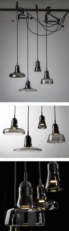 Collection of Shadows lamps for the BROKIS brand, designed by Dan Yaffet … Industrial Lighting, Interior Lighting, Lighting Design, Lamp Light, Light Up, Lighting Solutions, Home Interior, Lamp Design, Hanging Lights