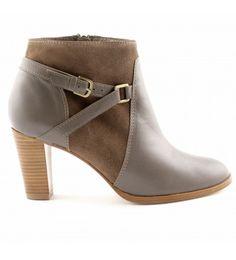 Boots à talon grises cuir et daim Egerie by Exclusif - 159 euros