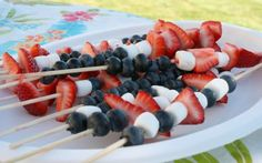 Red, white and blue fruit skewers!