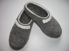 Handmade Felt Slippers Gray With Lace / Wool slippers by zinafelt. $55.00 USD, via Etsy.