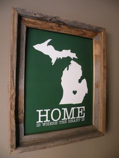 East Lansing Michigan Home Is Where The Heart by fortheloveofmaps, $22.00