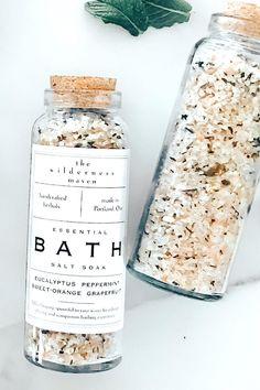 Bath salts are so much more than just a luxury item. This health-promoting ritual of adding bath salts to your soak soothes the muscles, hydrates the skin, detoxifies the body, and reduces internal swelling. This formula contains: Epsom Salt Crystals, Dead Sea Salt, Himalayan Pink Salt, Sodium Bicarbonate, Dried Orange Peel, Peppermint Leaves, Eucalyptus Essential Oil, Peppermint Essential Oil, Sweet Orange Essential Oil, and Grapefruit Essential Oil #bathsalts #detoxbath… Bath Salts Recipe, Homemade Bath Salts, Diy Cosmetic, Bath Bomb Packaging, Epsom Salt Bath, Home Made Soap, Homemade Beauty, Lotion, Bath Bombs