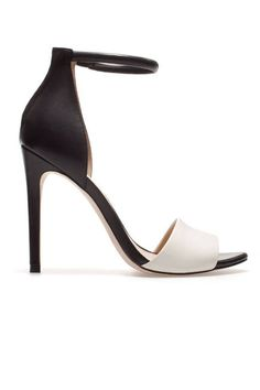 Black/White  THE HEELS Zara Basic Sandal, $79.90; zara.com