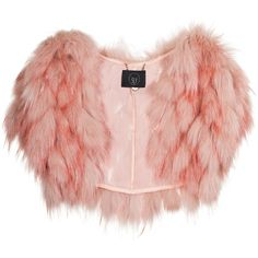 SLY 010 Pink Racoon Fur bolero ($405) ❤ liked on Polyvore featuring outerwear, jackets, tops, fur, coats, pink fur jacket, straight jacket, pink bolero, pink jacket and red bolero jacket